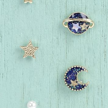 Evelyn Moon And Star 5 Mixed Earring Set | Boohoo