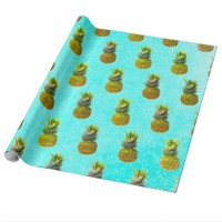 Pineapple Blue Pattern Wrapping Paper