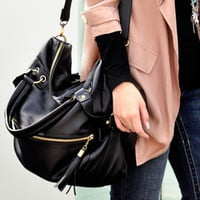 Black Leather Large Tassel Handbag Cross Body Shoulder Bag