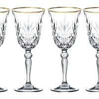 Sienna Collection Crystal Cordial Liquor Glass with Gold Trim, Set of 4