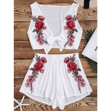 Rose Detailed Two-Piece Set