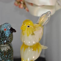 Stunning pair of Murano glass birds/Italian collectable glass /hand blown glass sculptures/ retro 1960s glass/ships worldwide from UK