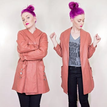 vintage long salmon leather jacket / 50s 60s pink orange coral peach leather coat woman
