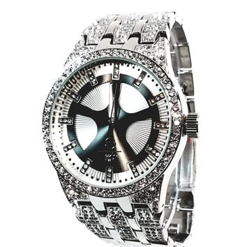 Techno Pave Silver Finish Iced Out Lab Diamond Round Black Face Mens Watch Metal Iced Band Bling 8558