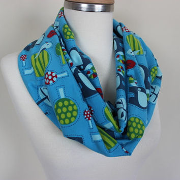 Elephant Scarf, Cute Elephant Print Scarf, Blue Green Loop Scarves, Circle Scarf, Elephant Patterned Scarves, Bird Print Scarf, Gift For Her