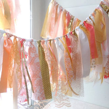 Tattered Fabric Garland, Wedding Banner, Photo Prop Backdrop, Birthday Party, Graduation Wall Decor, Eclectic Party, Tent & Wall Decor