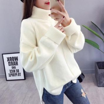 MY MALL METRO  Womens Long-Sleeve Loose Turtleneck Knitted Pullover Sweater  Check Homepage for Promo Codes! <