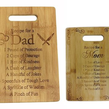 Recipe for a Dad and Mom Cutting Board Set - Cute Funny Laser Engraved Bamboo Cutting Board - Wedding, Housewarming, Anniversary, Birthday, Father's Day, Mother's DayGift
