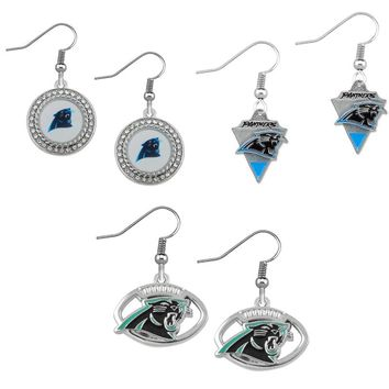 10Pairs High Quality Sport Team Fans Charm Drop Earrings Jewelry Football Carolina Panthers Metal Enamel Earrings