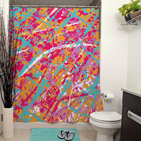 Art Camouflage Printed Shower Curtain, Bathroom Decor, Home Decor, Modern Art, Paint Splatter, Paint Drip, Abstract Art, Apartment Decor