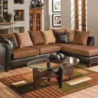 Brown Couch with Chaise | Bicast Chocolate Two Piece Sectional Sofa