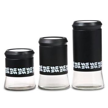 3pc Glass Canister Set Ss Blk