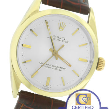 Vintage Rolex Oyster Perpetual Silver 34mm 14K Yellow Gold Leather Watch 1024