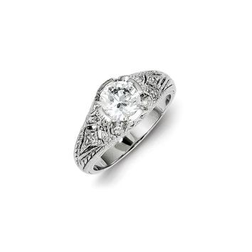 Sterling Silver CZ Antique Look Engagement Ring