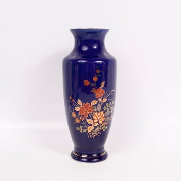 Vintage Oriental Vase Cobalt Blue Bud Vase Asian Vessel Floral Porcelain Design Gold Accents Centerpiece