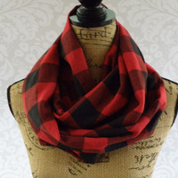 Limited Edition Buffalo Plaid Red Black Scarf FLANNEL Winter Fall Accessories