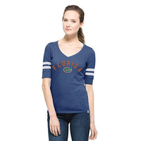 NCAA Florida Gators Women's '47 Flanker Stripe Tee, Large, Bleacher Blue