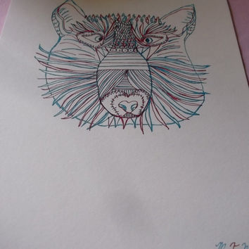 Red White and Blue Zentangle Wolf Americana Art Signed Dated Wall Decor