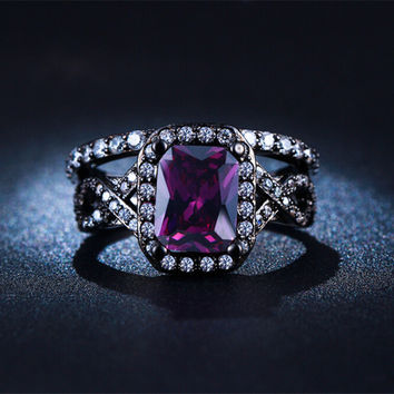 7 Black gold plated Purple Amethyst Jewelry CZ Diamond Wedding Rings For Women Engagement Bague Bijoux Luxury Jewelry Size 7 8