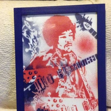 Jimi Hendrix framed painting,stencil art,spray paints,canvas paper,guitar,blues,Woodstock,icon,music 60s,red,blue,art,wall art,rock,star,pop