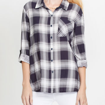 LE3NO Womens Lightweight Plaid Button Down Shirt with Roll Up Sleeves (CLEARANCE)