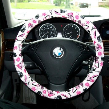 Girly Purses and Shoes in Animal Prints Steering Wheel Cover