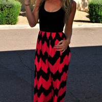 CRUISE BOUND CHEVRON MAXI DRESS IN CORAL