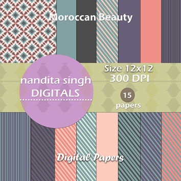Instant download digital papers,pastel colours,Moroccan beauty,stripes,solid colours,scrapbooking,crafting,decorative pattern,background,
