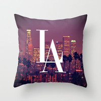 Downtown LA Vintage Skyline Typography Throw Pillow by Rex Lambo | Society6