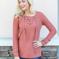 Cross It Up Sweater - Fig