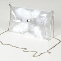 Clear transparent clutch bag purse bag white real feathers modern envelope with silver chain wedding envelope clutch purse wedding evening