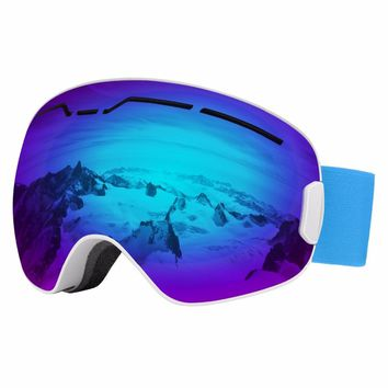 Ski Goggles,Detachable Double Lens Anti-Glare Windproof Protective Safety Skate Glasses for Skating Skiing ,Snowmobile Snowboard