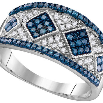 10kt White Gold Womens Round Blue Colored Diamond Striped Cluster Cocktail Ring 1/2 Cttw 104347