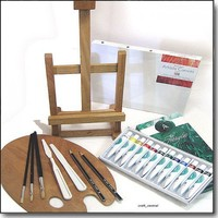 Complete Acrylic Painting Starter Set With Wood Table Easel | Art-Supplies - Fine Art Supplies on ArtFire