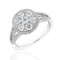 Forevermark Round Diamond Halo Multitop Fashion Ring 1 1/3ctw