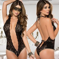 Charming 1 Piece Women's Sexy Lace Backless Lingerie Open Chest