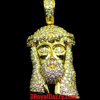 New Mens Hip Hop Iced Out 3D Jesus Face Yellow gold layer on 925 Silver Charm
