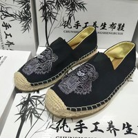 Fashion Casual Embroidery Tiger Head Hand Made Weave Cloth Shoes Single Shoes Lazy Flats Shoes