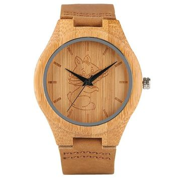 Animal Bamboo Watch Lovely Crane/Cat/Dog Carving Dial Genuine Leather Strap Cute Children Wood Wristwatch Adorable Girls Clock