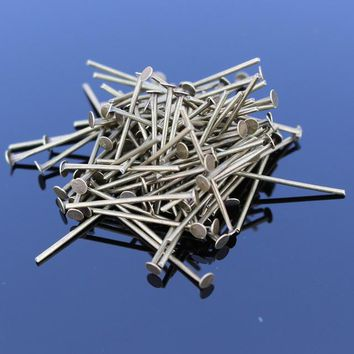 D013 100pcs Flat Head Pins For DIY Jewelry Making Accessories T Needles Headpins Antique Findings