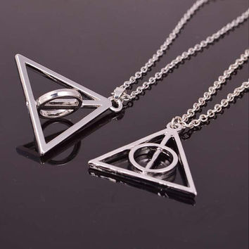 Harry P Deathly Hallows center rotating  jewelry  silvery party jewelry