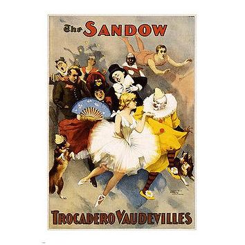 the sandow trocadero vaudevilles vintage theatre poster 24X36 CLOWN BALLERINA