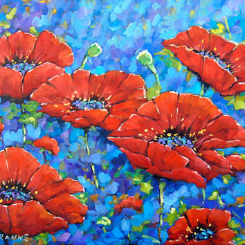 Royal Poppies large original painting oil paintings created by Prankearts No Cost Shipping