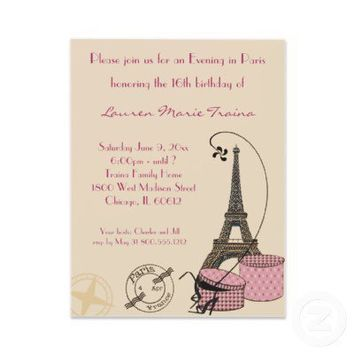 An Evening in Paris Pink Themed Party Invitation from Zazzle.com