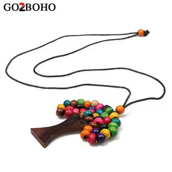 Go2boho Necklace Boho Statement Necklace Choker Jewelry Long Tree of Life Women Wooden Beads Pendant Ethnic Handmade Rainbow