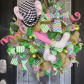 Easter Wreath, Easter Decoration, Front Door Wreath, Spring Wreath, Large Wreath, Bunny Wreath, Whimsical Easter Wreath, Ready to Ship