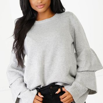 Double Tap Knit Sweater - Grey