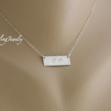 Silver Bar Initial Necklace, Personalized Rectangle Monogram Necklace, TWO Initials Charm Necklace, Couple Necklace, Mother's Day Necklace