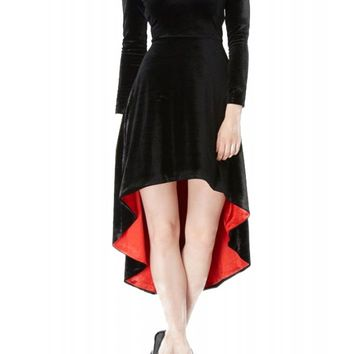 Jawbreaker Women's Velvet Hi Low Dress -Black