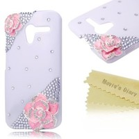 Mavis's Diary for Motorala Moto X Phone 3D Handmade Crystal Flower Bling Diamond Design Hard Cover Case with Soft Clean Cloth (Pink Flower White Case)